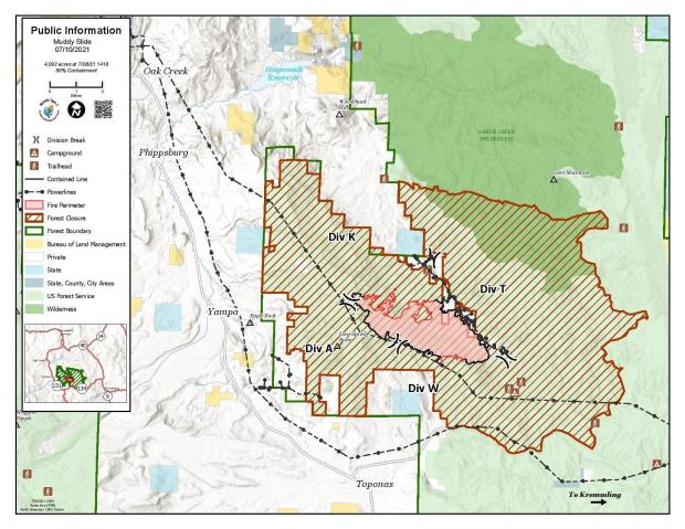 Muddy Slide Fire Map for July 10, 2021