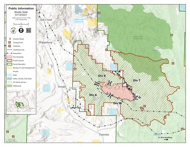 Muddy Slide Fire Map for July 14, 2021