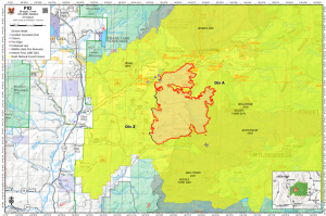 A map of the Morgan Creek Fire, north of Steamboat Springs, Colorado