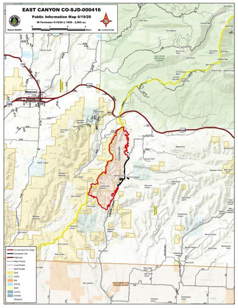 JPeg map of East Canyon Fire June 19, 2020