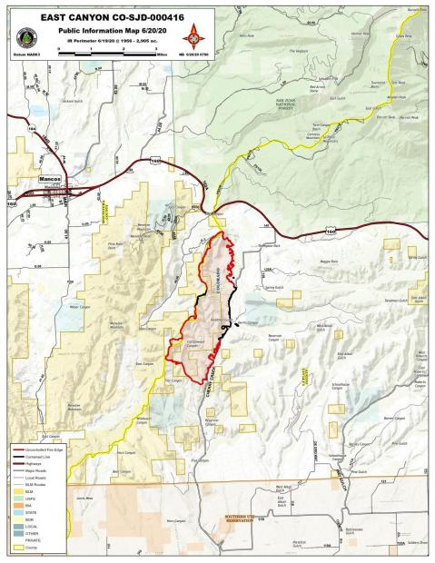East Canyon Fire Map June 20, 2020