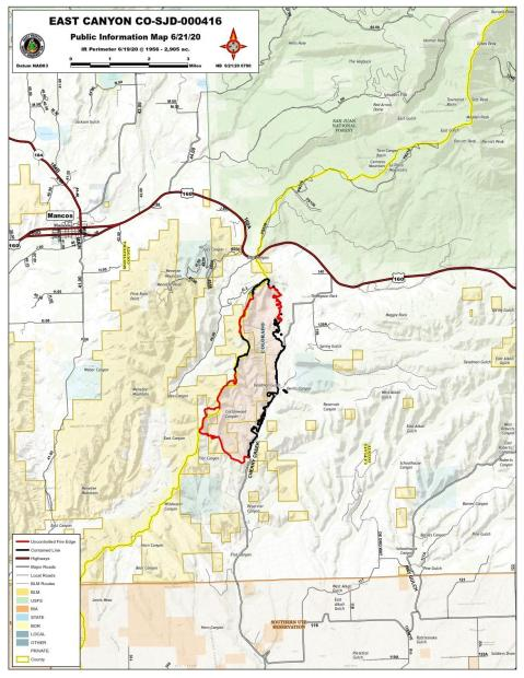 East Canyon Fire Map June 21, 2020