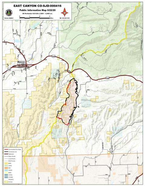 East Canyon Fire Map June 22, 2020