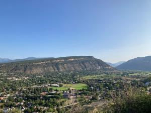 Animas CIty Mountain, part of the city of Durango and the Animas River Valley are seen from an overlook at Fort Lews College.