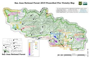 Vicinity map for Prescribed Fire in San Juan National Forest