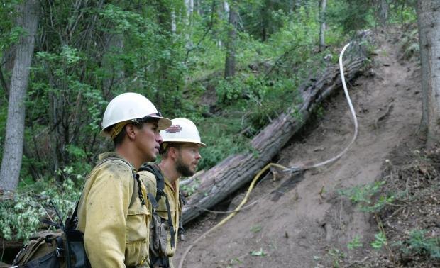 Two firefighters stand at the base of a steep fire line.