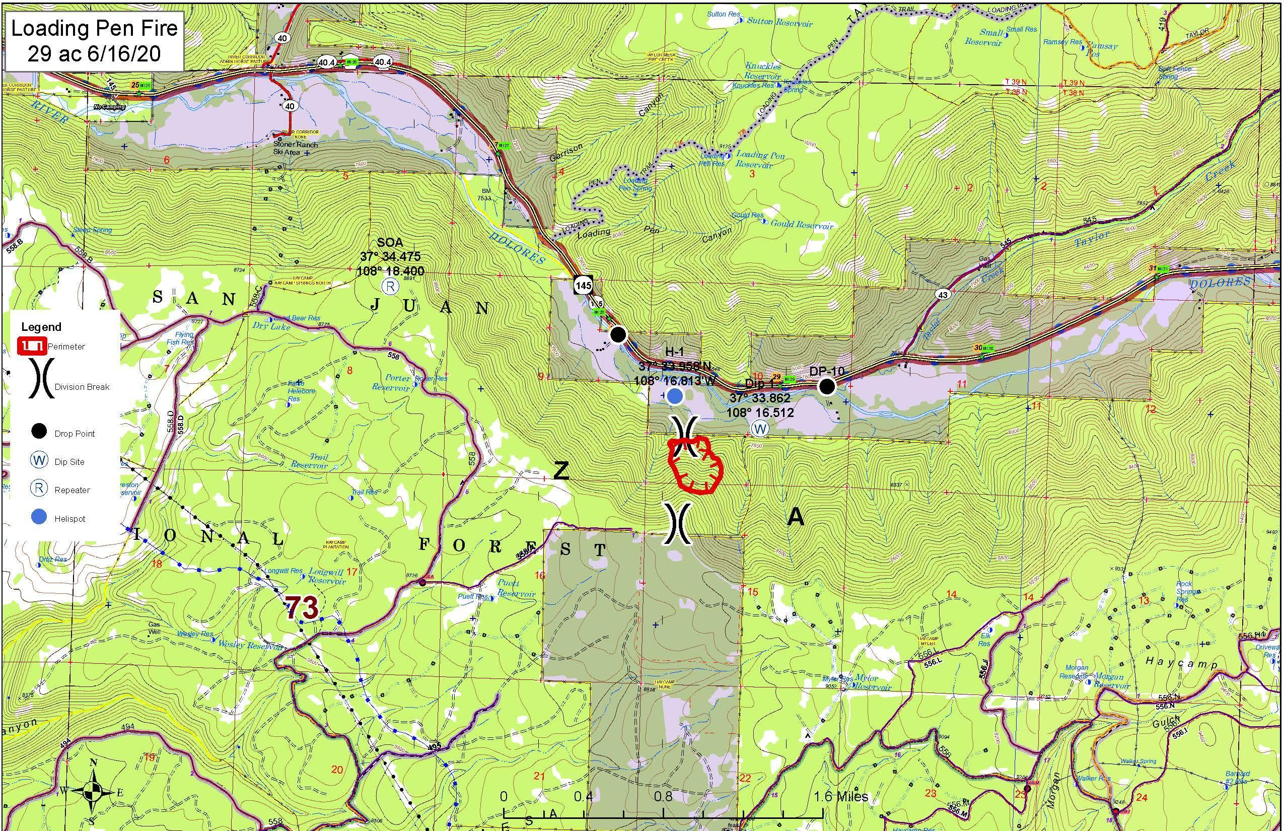 A map of the Loading Pen Fire, Colorado on June 16, 2020