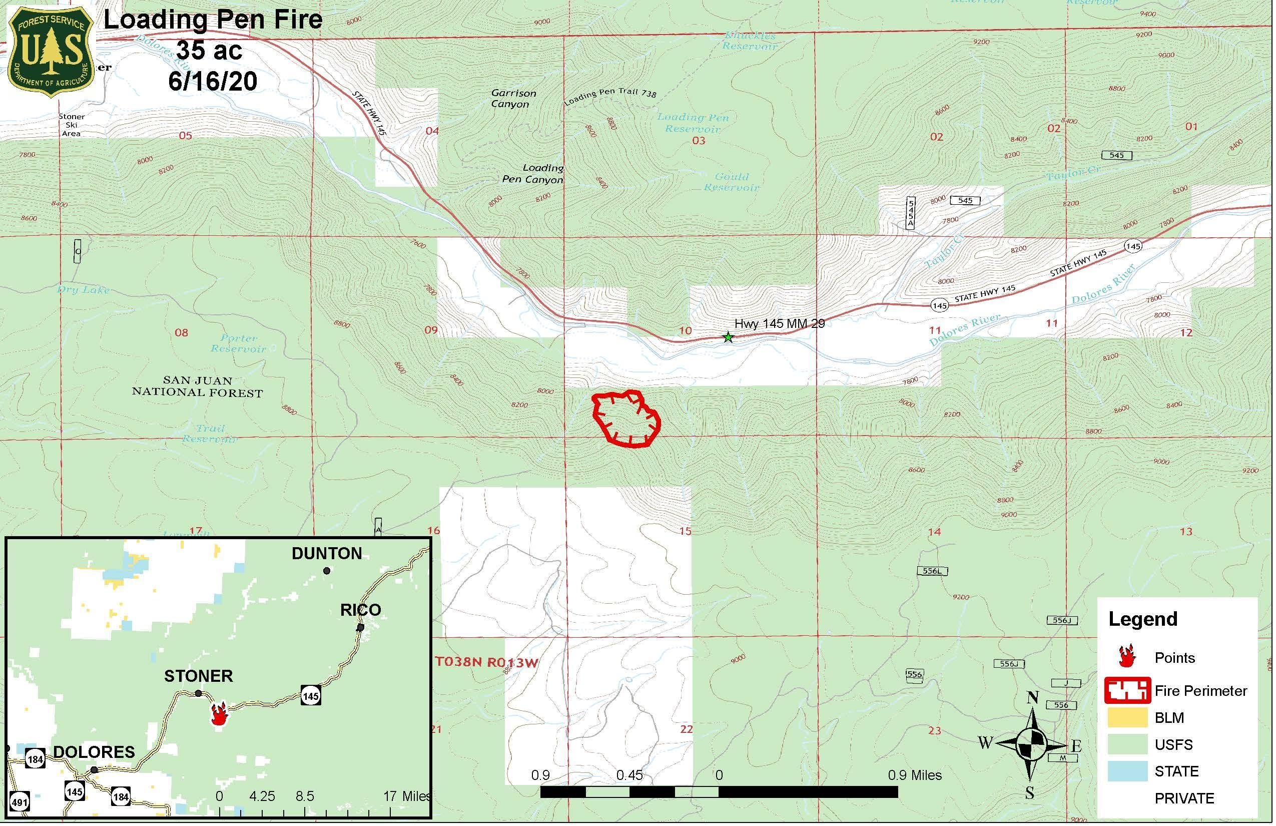 A map showing the location of the Loading Pen FIre with an inset showing the surrounding area.