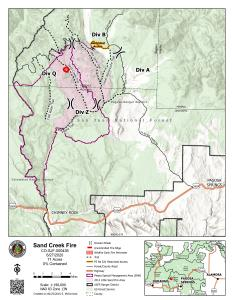 Map of the Sand Creek Fire, June 27 2020