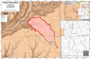 A map showing the fire perimeter as of June 20, 2021. Black line represents fire containment.