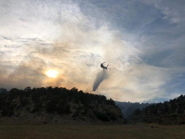 Water drops from helicopter over the Rio Blanco County fires.
