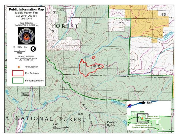 Middle Mamm Fire perimeter and location for Aug 31 2019