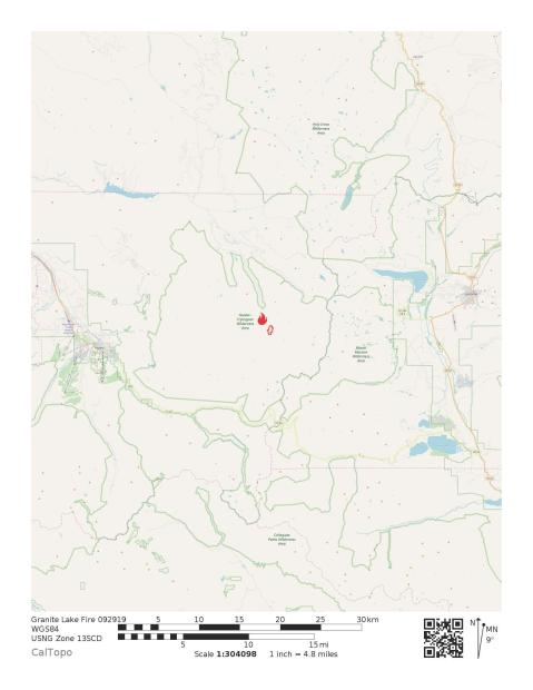 Vicinity map of Granite Lake Fire