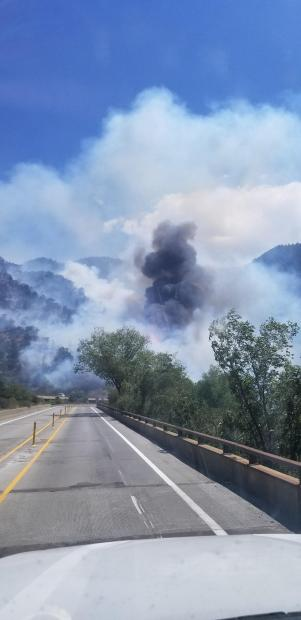 Grizzly Creek Fire views from I-70