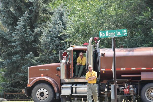 Grizzly Creek Fire water tender at No Name