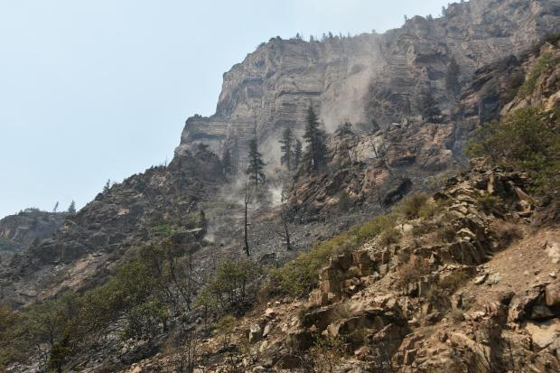 Grizzly Creek Fire burnt area pic