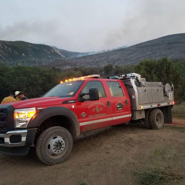Grizzly Creek Fire cooperating agency engine