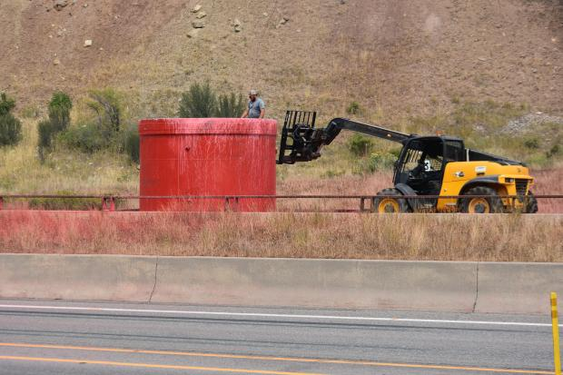 Grizzly Creek Fire Mobile Retardant Base being removed