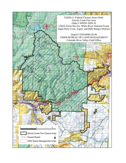 Grizzly Creek Fire Area Road Closures indicated with broken black lines