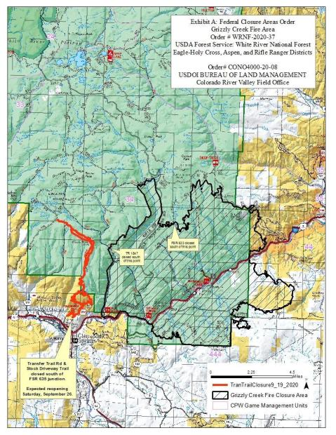 Grizzly Creek Fire Area closure shown with black diagonal lines within a black border. Transfer trail closed routes shown in red.