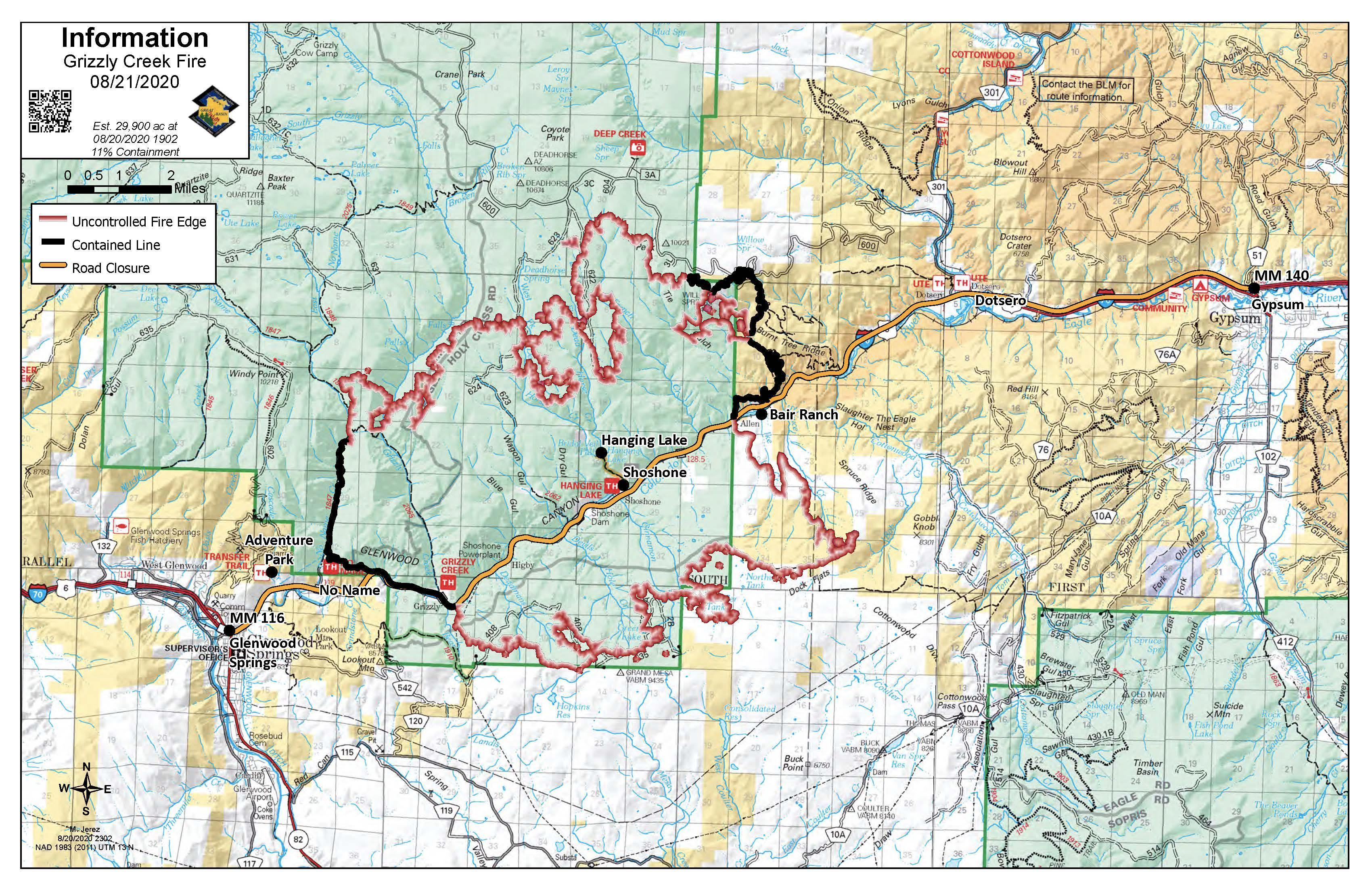 Uncontained line is red over a topographic map of the area