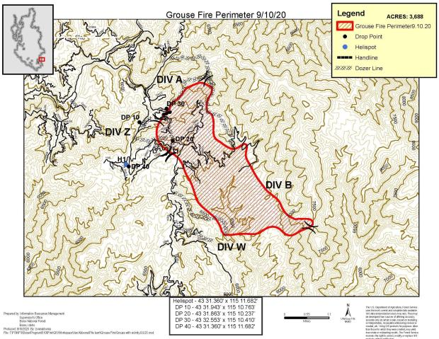 9-10-2020 Map of the Grouse Fire