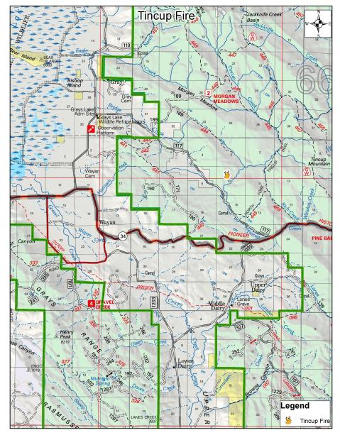 Tincup Fire vicinity map