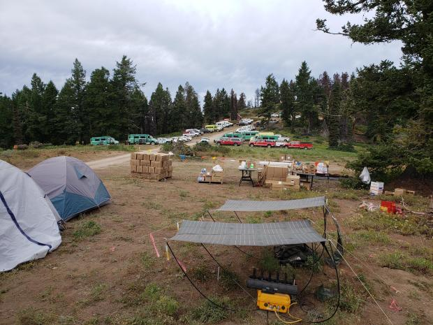 This is a view of the spike camp fire personnel have set up on Hawley Mt. The drive to ICP is 1.5 hours one way. By camping near the fireline crew minimize driving risk and gain hours of productivity that would otherwise be spent driving.
