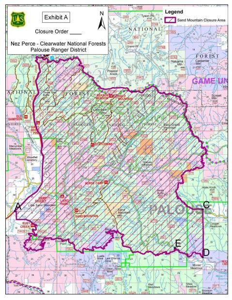 Topo map of forest service closure area associated with the Sand Mountain Fire. Area inside heavy red line is closed to the public until further notice.