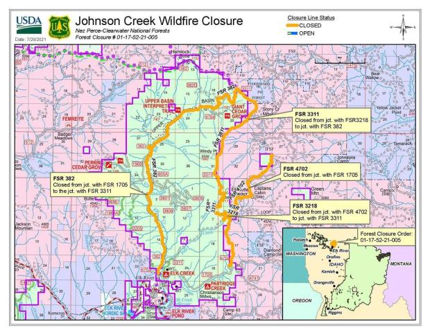 map detailing trails and roads closed due to the Johnson Creek Fire