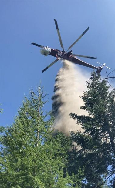 Close up view of sky crane dropping water