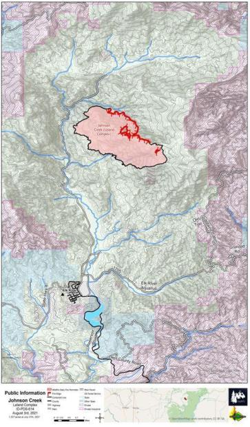 Topographic map of Johnson Creek Fire with fire perimeter and contaiment line highlighted