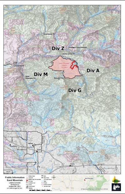 Topographic map of Sand Mountain Fire with fire perimeter and contaiment line highlighted