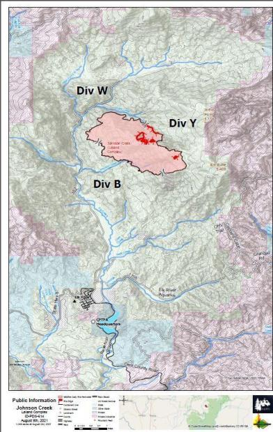 Topographic map of Sand Mountain Fire with perimeter and containment lines highlighted
