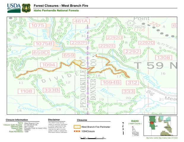 FSR 1094 Road Closure Map