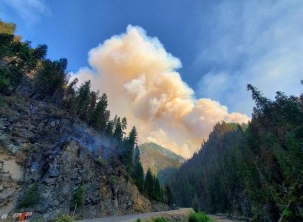 Stateline Fire on July 29, 2021 at 1913 in Bear Canyon with Smoke Column