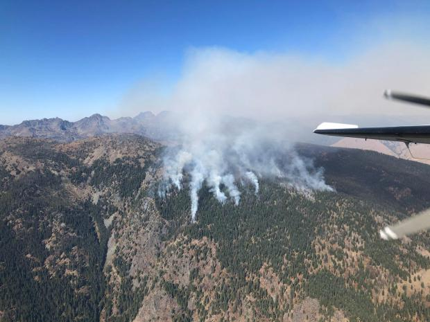 Multiple smaller plumes of smoke rise in the distance in this photograph taken of the Bryan Mountain fire by airplane.