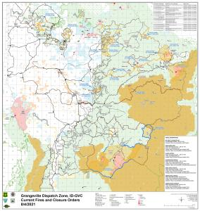 Map showing current fires across the Grangeville Dispatch Zone and Forest closure orders on the Nez Perce-Clearwater National Forests August 4, 2021