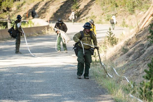 Firefighters from the A Bar S Crew from Arizona's Apache-Sitgreaves National Forests back haul hoses that were set up during the Nethker Fire along Warren Wagon Road near Secesh.