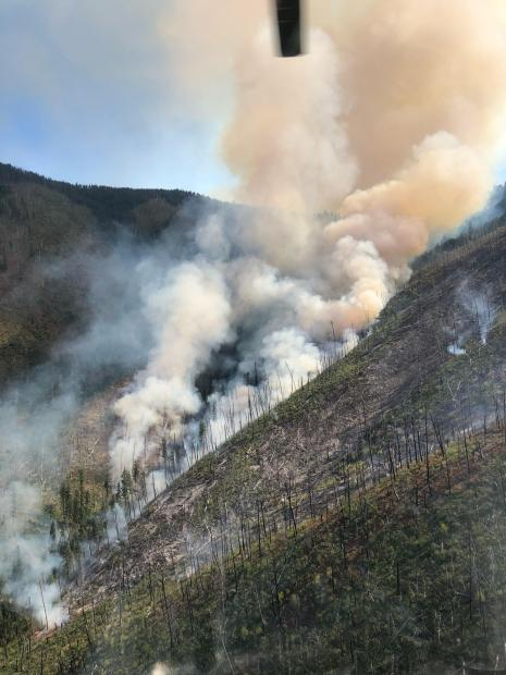 Smith Knob Fire burning Smith Creek Drainage, August 28, 2019