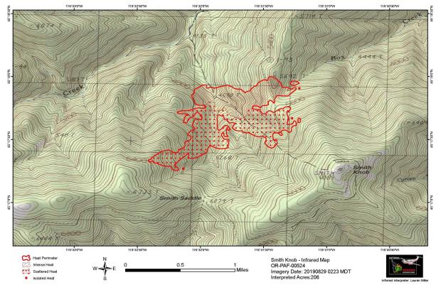 Smith Knob Fire Map, August 29, 2019