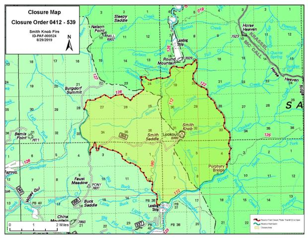 Smith Knob Fire Area Closure Map, August 28, 2019