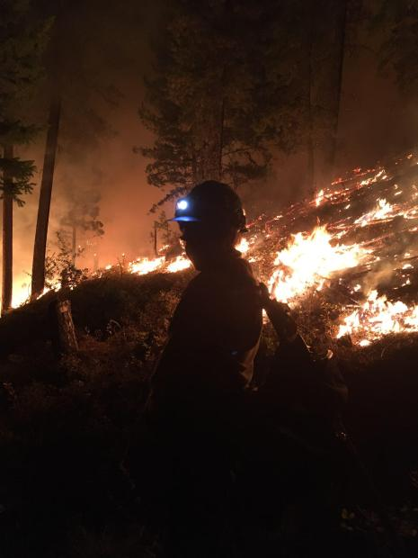 Fire burning at night, with a fire fighter shadow inthe center