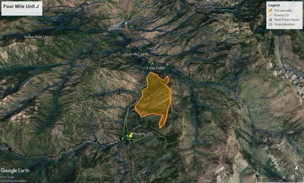 Four Mile Fire Site Map, May 19, 2021