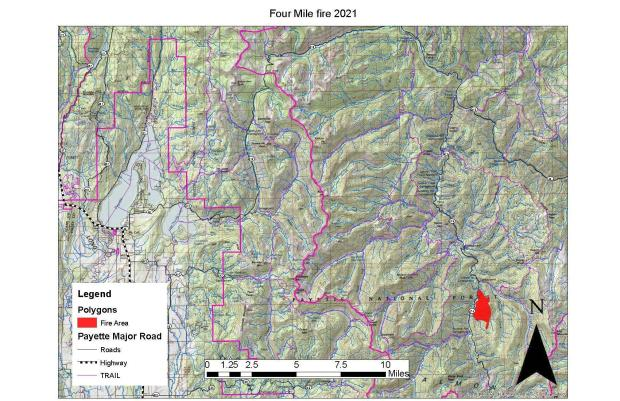Four Mile Fire Vicinity Map, May 19, 2021