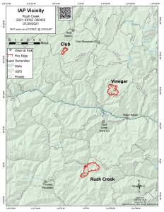 Map showing Club, Vinegar, and Rush Creek Fire perimeters and surrounding topography.