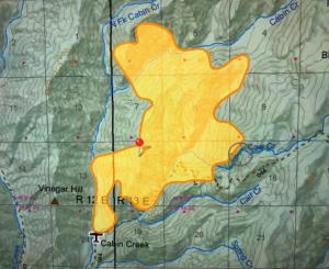 Map showing the fire perimeter and surrounding topography.