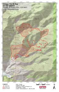This map shows the Vinegar Fire perimeter based on an infrared overfight the night of Monday-Tuesday 8/2-8/3.