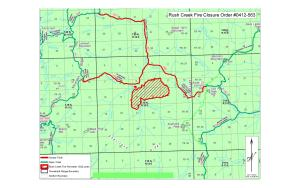 Map showing fire perimeter as of July 21 and closed trail.
