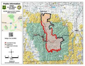 Map of the overnight infared flight over the Badger Fire
